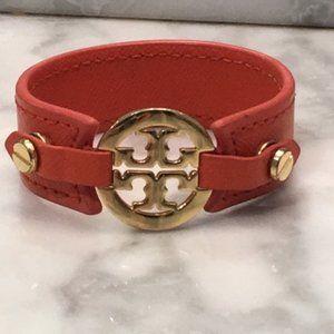 Tory Burch Gold Logo and Orange Leather Bracelet